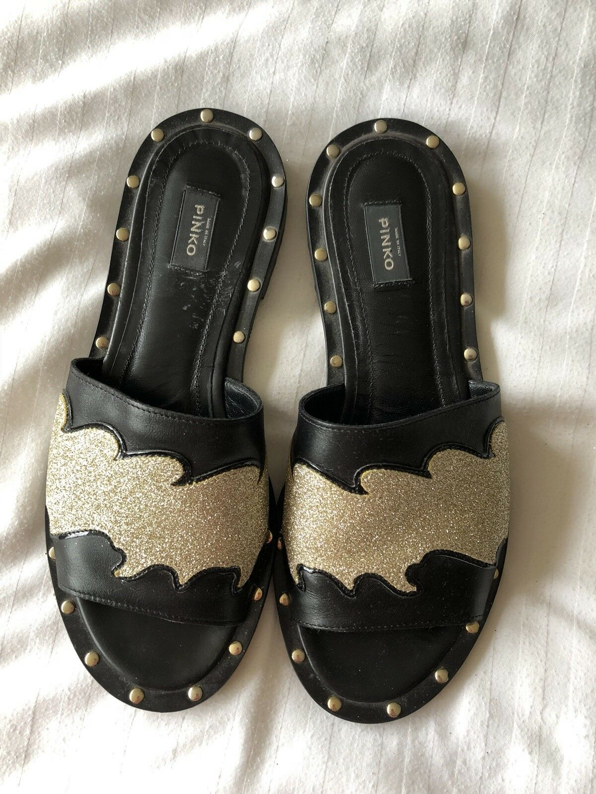Pinko Nebbiolo Slider Sandals Black And gold Glitter Size 37