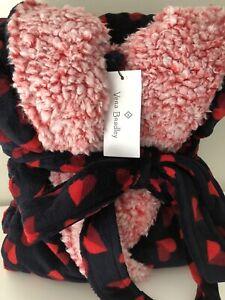 Vera Bradley NWT Hooded Fleece Robe SWEET HEARTS L-XL  Red/Navy Blue