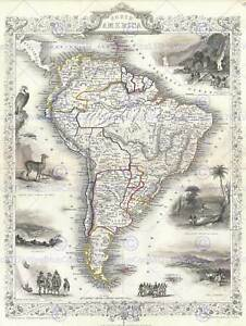 1850-TALLIS-MAP-SOUTH-AMERICA-TALLIS-1850-VINTAGE-POSTER-ART-PRINT-2898PY