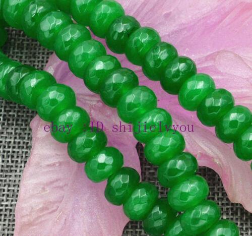 "Nouveau 6x10mm Vert Emerald Gemstone Faceted Rondelle Loose Beads 15/"""