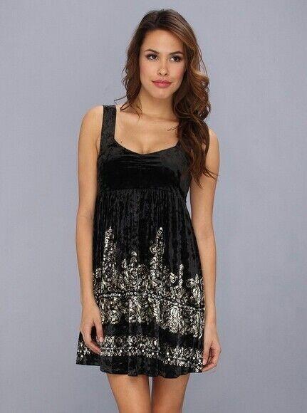 Free People Women s Black Velvet Dress with Gold   Silver Sequin details  Size S d225e1e7f