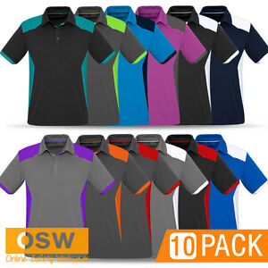 10 X Mens Modern Micro Interlock Work Office Business Uniforms Polo