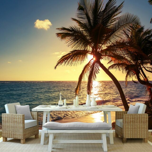 Custom 3d Mural Photo Wallpaper Beach Sunset Coconut Palm Seaside ...
