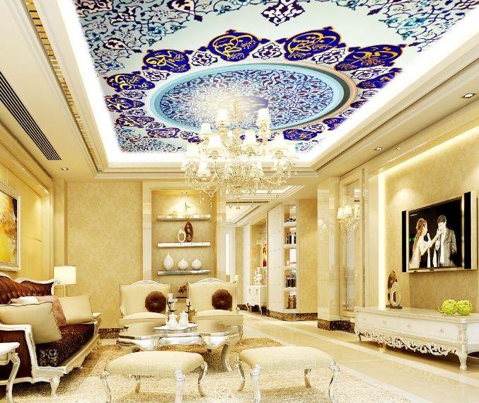 3D Blau Flowery 3 Ceiling WallPaper Murals Wall Print Decal Deco AJ WALLPAPER GB