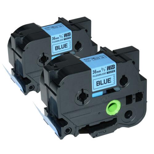 2 Schriftbänder kompatibel zu Brother P-Touch TZE-FX561 8m//36mm Schwarz auf Blau