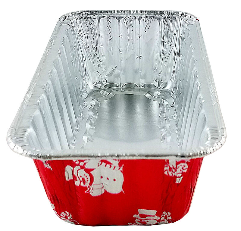 Handi-Foil 2 lb. Red Snowman Holiday Christmas Loaf Bread Pan w/Clear Dome Lids 5