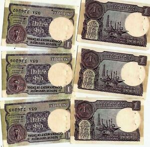 Lot-5-PCS-Bundle-1980-90-Old-Vintage-India-1-Rupee-Serial-Banknotes-Rare-UNC-Set