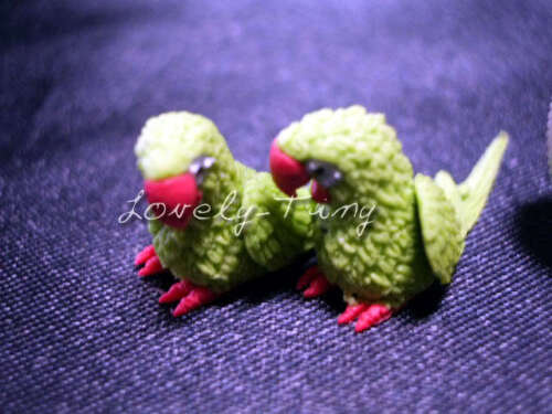 Couple of Miniature handmade Parrots made of ClayD