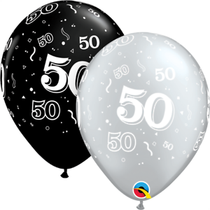 """30 x 50TH BIRTHDAY BLACK AND SILVER 12/"""" HELIUM OR AIRFILL BALLOONS PA"""