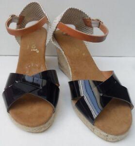 8 Size Heel Espadrilles Leather Wedge New Eur 41 Maypol Blue Navy Women's Uk AYwvq810