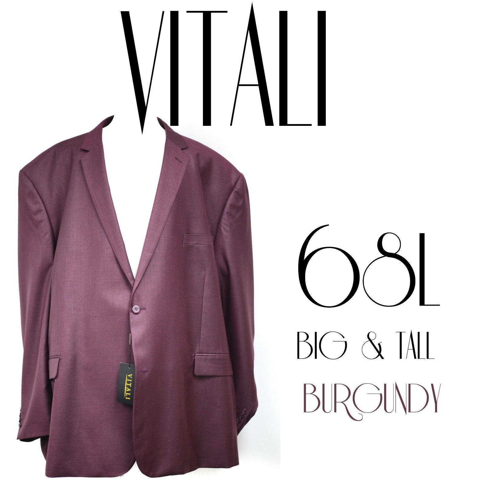 NEW Vitali Suit Super 120's Fabric Size 68L Big and Tall Classic Fit Business
