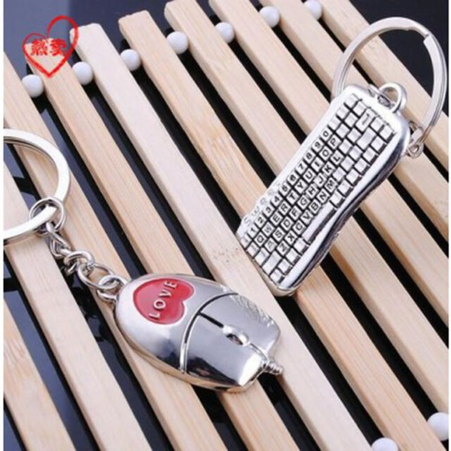 Fashion 1 pair Mouse And keyboard Pendant Keyring Keychain Keyfob Lover Gift New