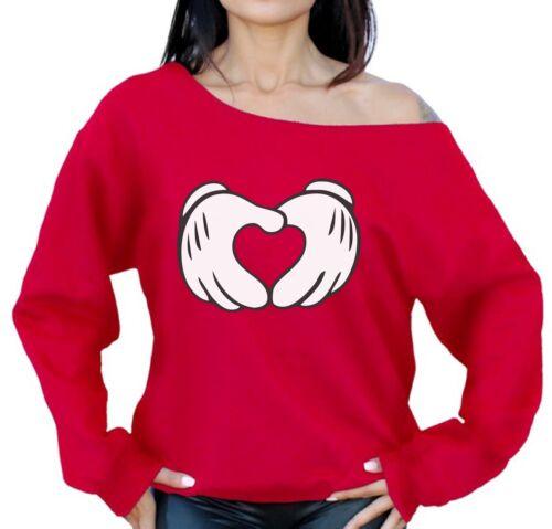 Cartoon Hands Heart Sweatshirt Off Shoulder Valentine/'s Day Sweater Gift for Her