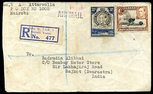 BRITISH-KENYA-UGANDA-TO-INDIA-Air-Mail-Registered-Cover-1951-VF