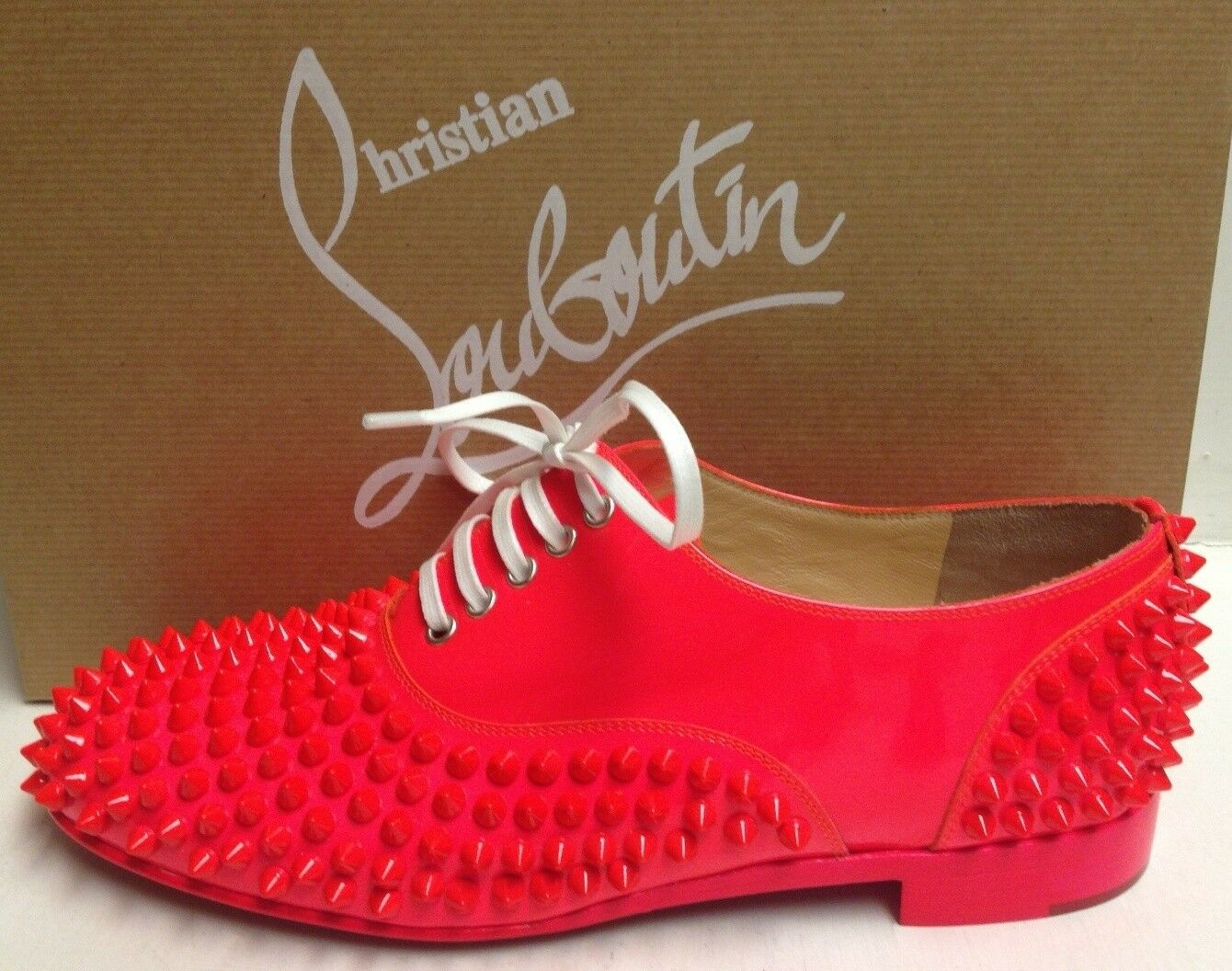 Christian Louboutin FROTdy 37 Flat Spikes Patent Fluo Oxfords Schuhes 37 FROTdy 0967d7
