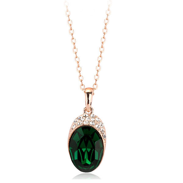 18K Rose Gold GP Made With Swarovski Crystal Oval Cut Dark Emerald Necklace