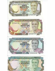 ZAMBIA-OLD-ISSUE-SET-2-5-10-20-KWACHA-SET-UNC