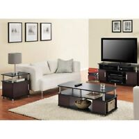 3 Piece Cherry Black Coffee Table Set Living Room Home Accent Furniture