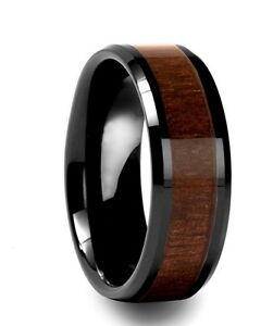 Image Is Loading Mens Black Tungsten Carbide With Koa Wood Inlay