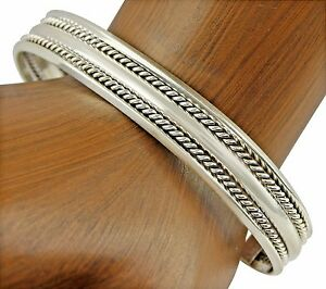 VTG-Women-039-s-TAHE-Navajo-Indian-5-Row-10-25-mm-Wide-925-Sterling-Silver-Cuff
