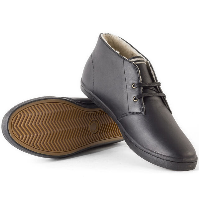 a5a80e682b2 Fred Perry Byron Mens Chukka BOOTS Leather Black Grey Shoes 11 UK ...