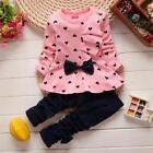 Baby Girl Kids Bowknot Long Sleeve Top Shirt + Pants Set Toddler Outfits Clothes