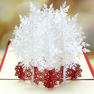 3D-Stereoscopic-Holiday-Greeting-Card-Merry-Christmas-Greeting-Handmade-Car-HNew