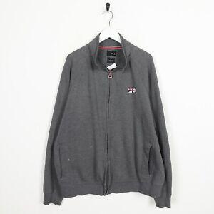 Vintage-FILA-Small-Logo-Zip-Up-Side-Pocket-Sweatshirt-Jumper-Grey-XL