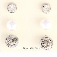 Silver Crystal Pearl and Knot 3 Piece Stud Earring Set
