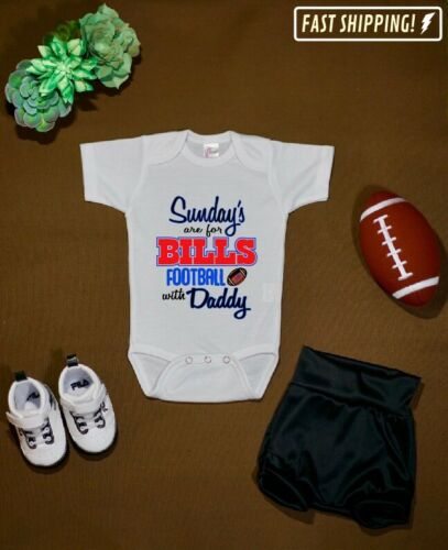 Sundays Buffalo Bills with daddy baby one piece body suit toddler