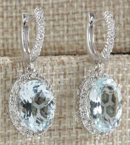 Argent 925 Aquamarine Women Jewelry Fashion Dangle anniversaire Pendants d/'oreilles
