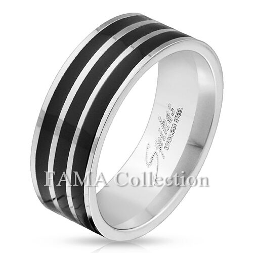 Stylish FAMA 8mm Stainless Steel Ring with Triple Black Lines Size 9-13