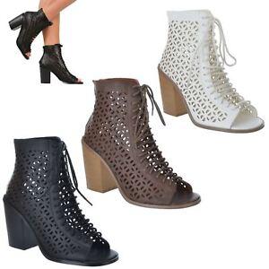 Nuevas-senoras-Jaula-Mid-bloque-talon-lazada-puntera-abierta-Recorte-Botines-Zapatos-Talla