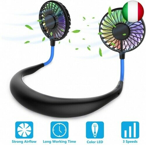 Ventilatore Portatile,Ventilatore Indossabile da Collo Ricaricabile Mini