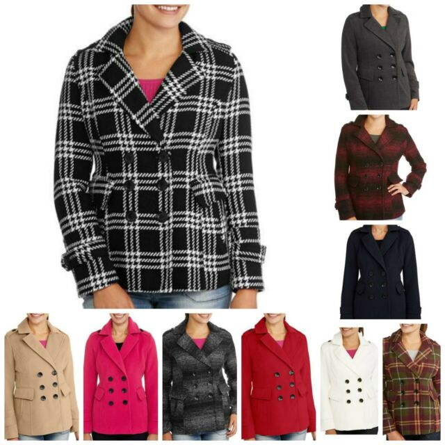 IB Diffusion Women's Faux Wool Blend Peacoat Jacket Coat Double Breasted Button