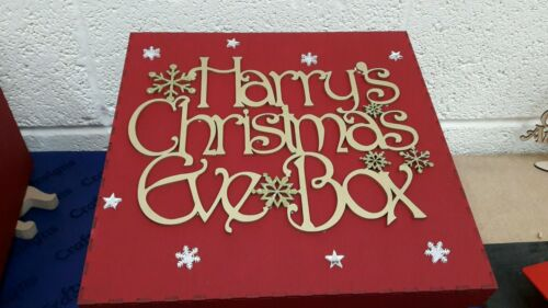 Personalised Christmas Eve Box wooden 30cm x30cm x20cm Xmas Free name bauble
