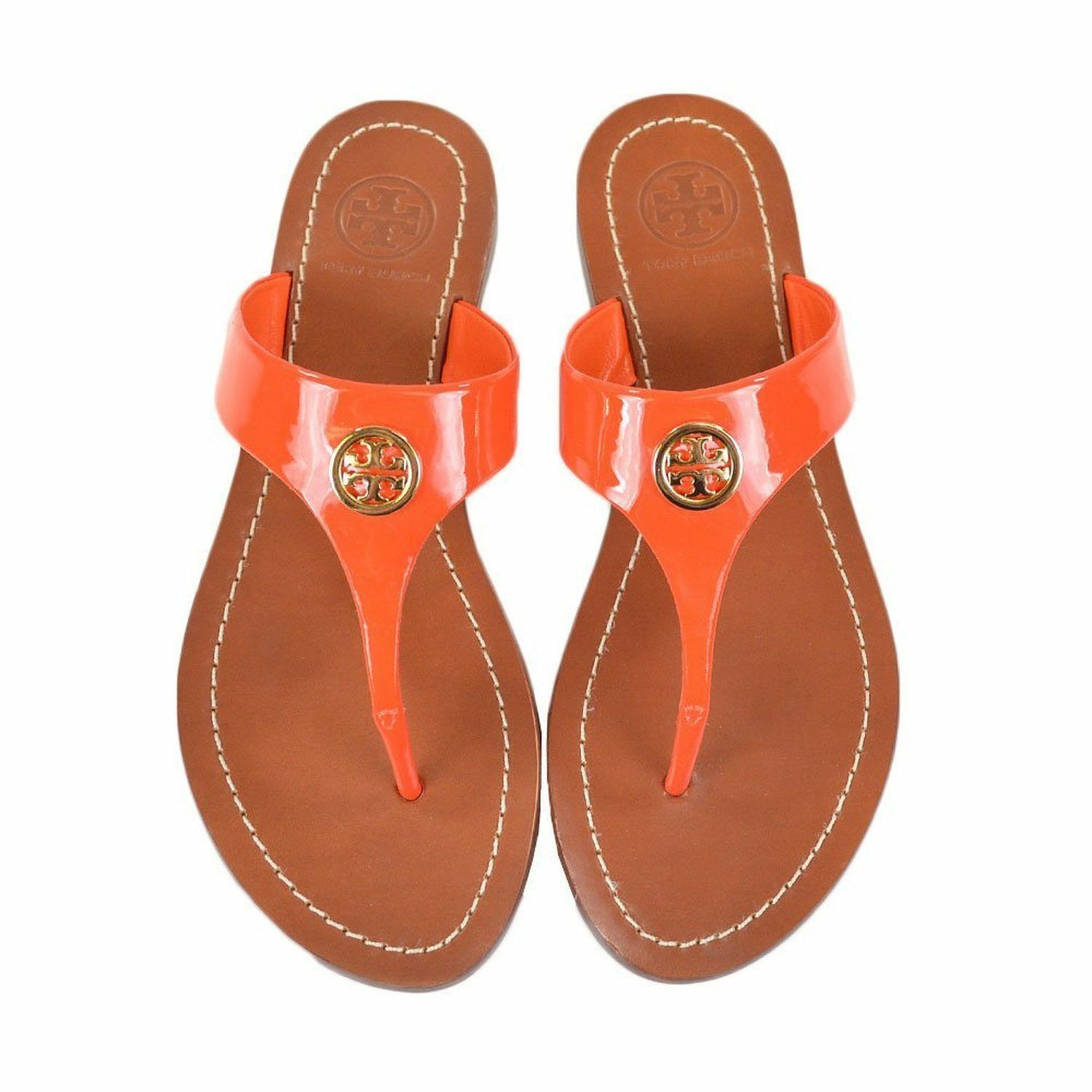 Tory Burch CAMERON Thong Leather Sandals Fire orange 10.5