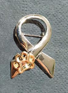 SPILLA-FiOCCO-simbolo-AMORE-ZAMPA-Animale-CANE-GATTO-color-simile-CROMATO-amp-ORO