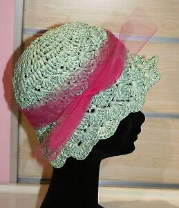 Cappello Di Rafia Artigianale Realizzato Alluncinetto Pezzo Unico