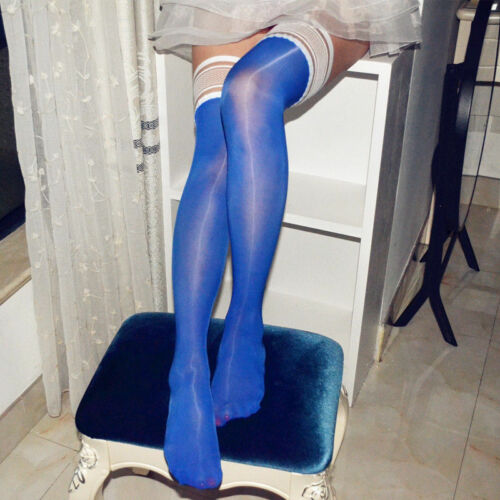 Damen Glossy Halterlose Strümpfe Satin Glanz Spitze Lange Socken Nylons Strapse