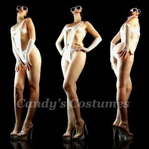WHITE-Bandage-DEEP-Halter-MONOKINI-Skimpy-MODEL-Swimwear-SEXY-Teddy-6-8-10-xxx