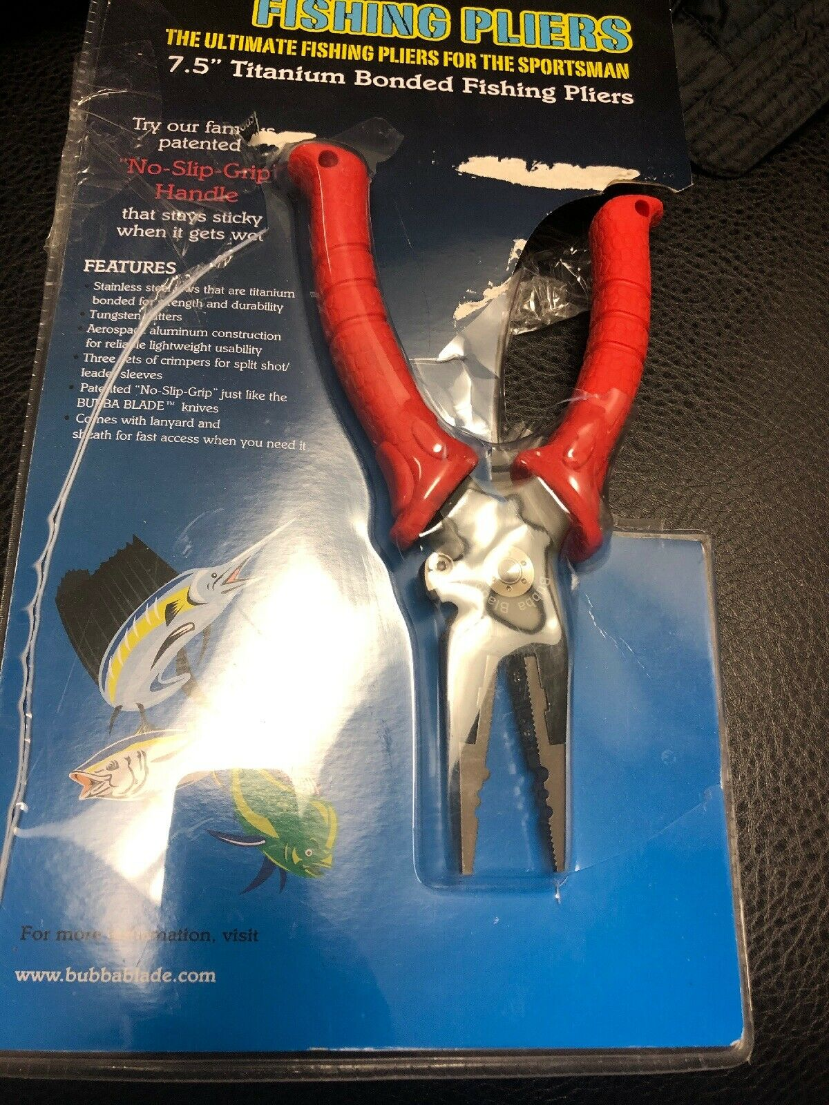 Bubba Blades 7.5  Fishing Pliers Red Handles Titanium  Nitride Coating BB1-FP  fast shipping worldwide
