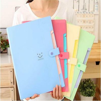 5 Pocket A4 Office Expanding File Folder Document Organiser with Flip Cover WITH