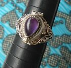 925 Sterling Silver Poison Box Ring Teardrop Amethyst Cab Size 6