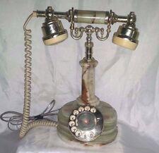 Rotary Telephone Vintage  MARBLE ALABASTER ! Works ! New Jack Phone By Onyx