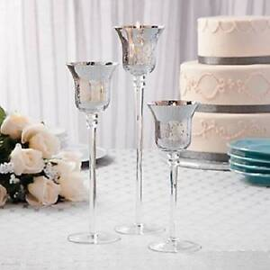 long stem silver mercury fluted glass votive candle holders 3 pc set 8 12 h ebay. Black Bedroom Furniture Sets. Home Design Ideas