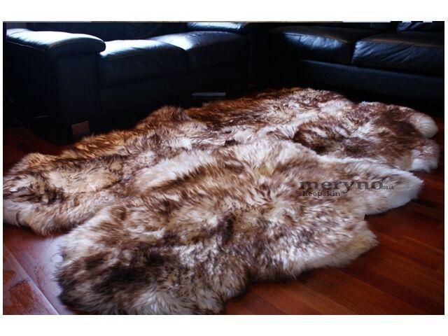 White brown Quad 4 Tapis en peau de mouton laine tapis doux en laine mouton f02dac