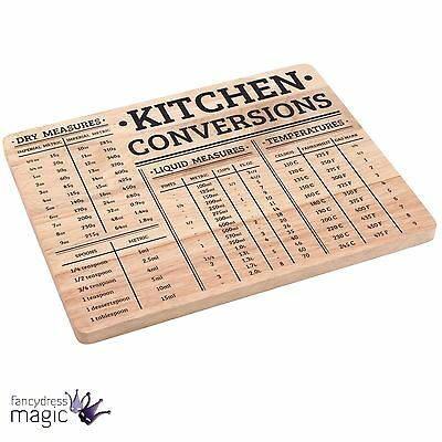 Practical Kitchen Conversions Wooden Wood Chopping Board Block Measurement Gift