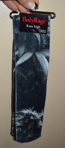 Body Rage Black /& White Pot Leaf Knee High Socks Size 9-11 Shoe Size 5 to 10