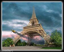 Len KRENZLER LE art Giclee Canvas pilot Bill Overstreet MUSTANG WW2 Eiffel Tower